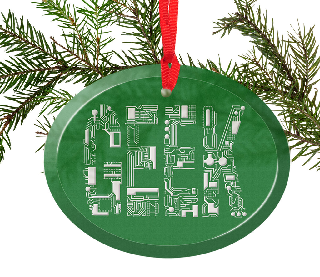 Geek Circuit Font Glass Christmas Ornament