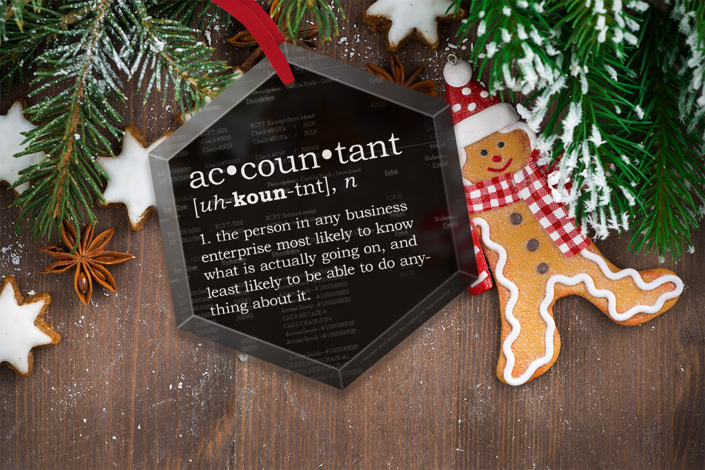 Christmas Accountant.Funny Definition Of Chemistry Glass Christmas Tree Ornament