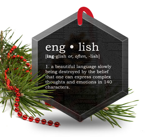 English Definition Funny Glass Christmas Ornament