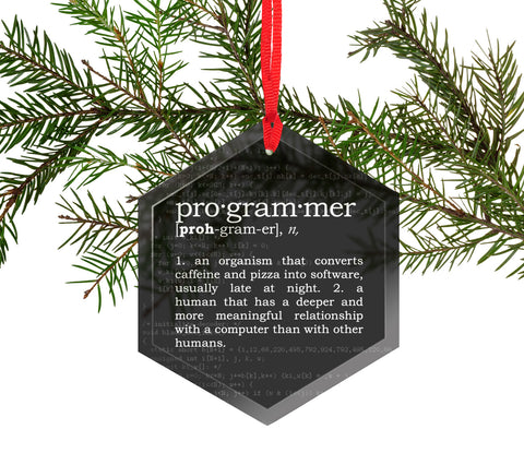 Programmer Definition Funny Glass Christmas Ornament