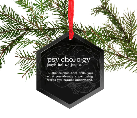 Psychology Definition Funny Glass Christmas Ornament