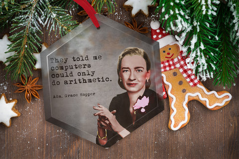 Famous Scientists Grace Hopper Glass Christmas Ornament