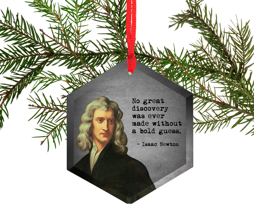 Famous Scientists Isaac Newton Glass Christmas Ornament