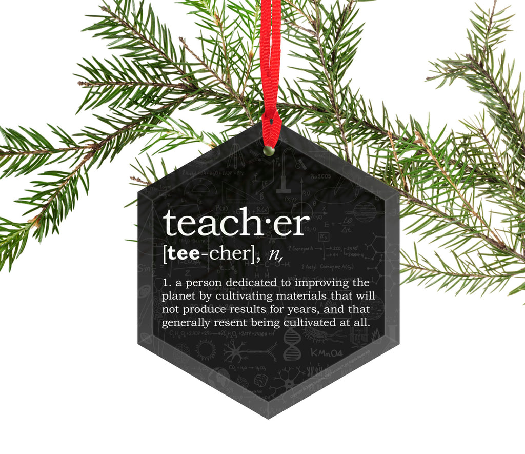 Teacher Definition Glass Christmas Ornament