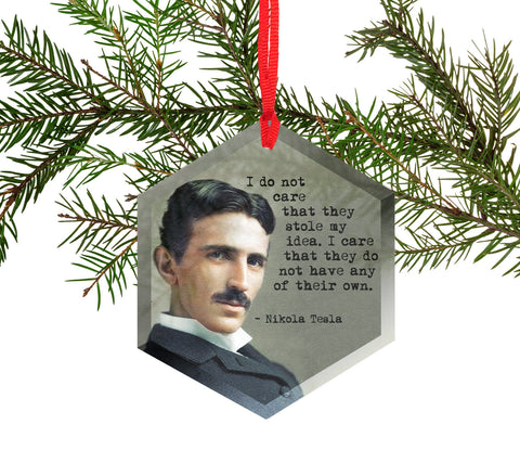 Famous Scientists Nikola Tesla Glass Christmas Ornament