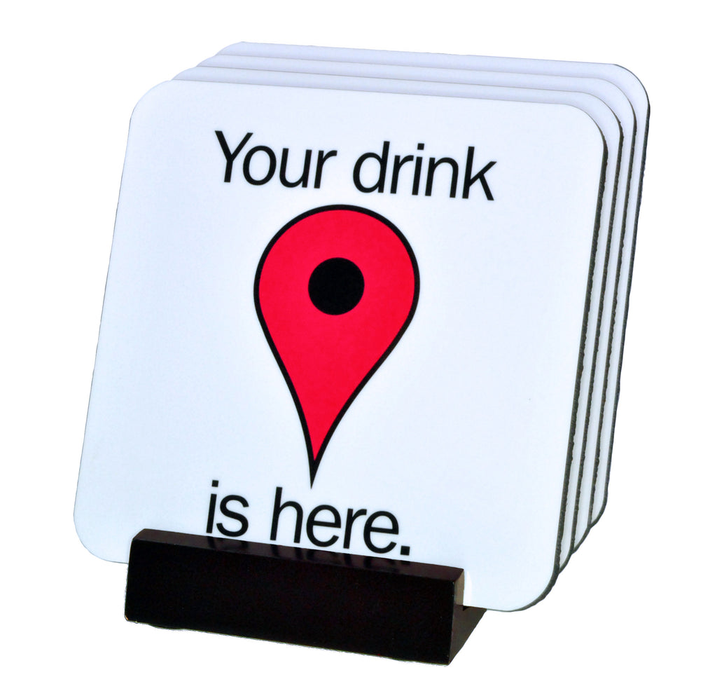 Google Map Pin Coasters with Display Holder