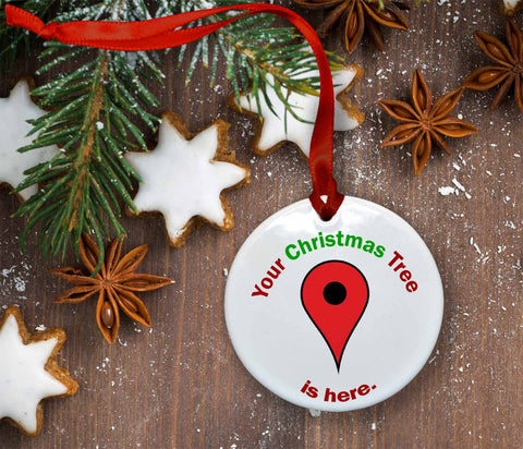 Google Maps Christmas Tree Locator Ceramic Christmas Ornament