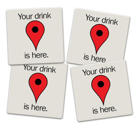 GPS Drink Locator Coaster Set - Sandstone Tile 4 Piece Set - Caddy Included