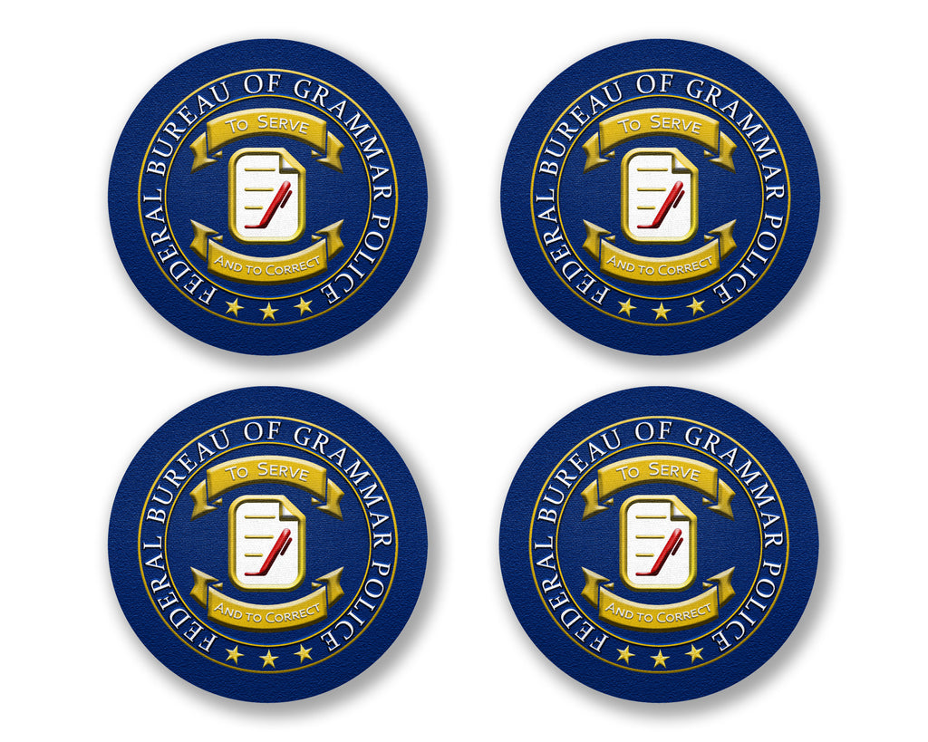 Grammar Police Seal Coaster Neoprene 4 Piece Set