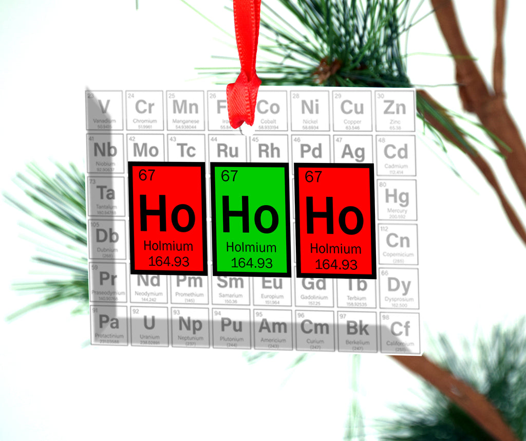 Ho Ho Ho Periodic Table of Elements Glass Christmas Ornament