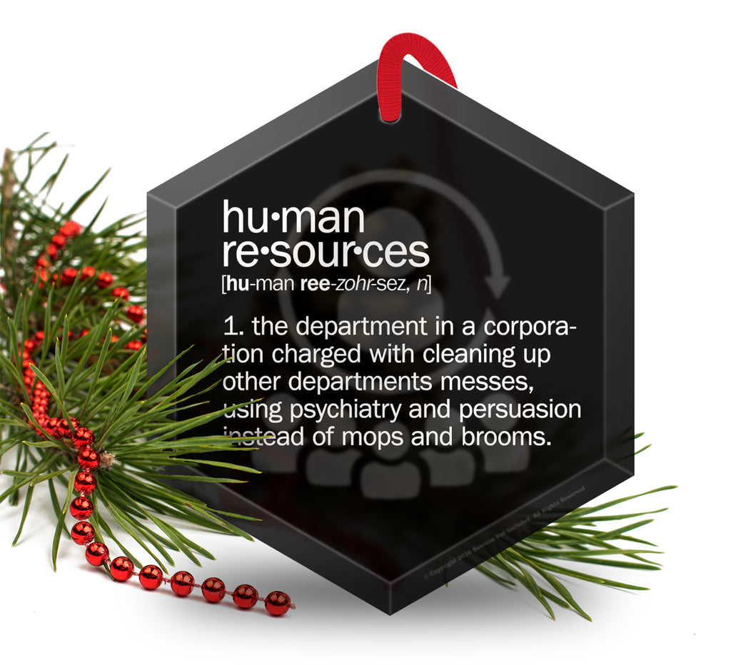 Human Resources Definition Funny Glass Christmas Ornament