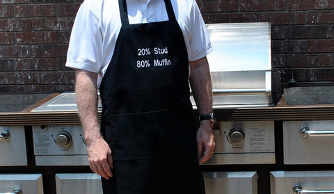 Black Stud Muffin Embroidered Adjustable Apron