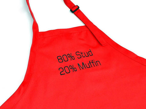Red Stud Muffin Embroidered Adjustable Apron