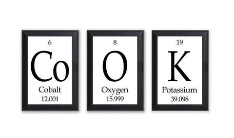 "Cook Periodic Table Framed 3 Piece Wall Plaque Set  Each Plaque 5"" x 7"" - Geeky Home Decor"