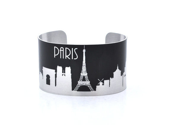 Paris France Silver and Black Skyline Aluminum Cuff