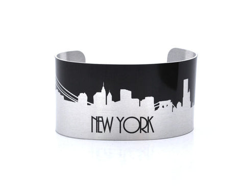 New York Silver and Black Skyline Aluminum Cuff