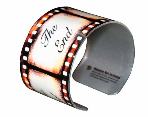 Film Wide Aluminum Cuff Bracelet - The End Movie Film