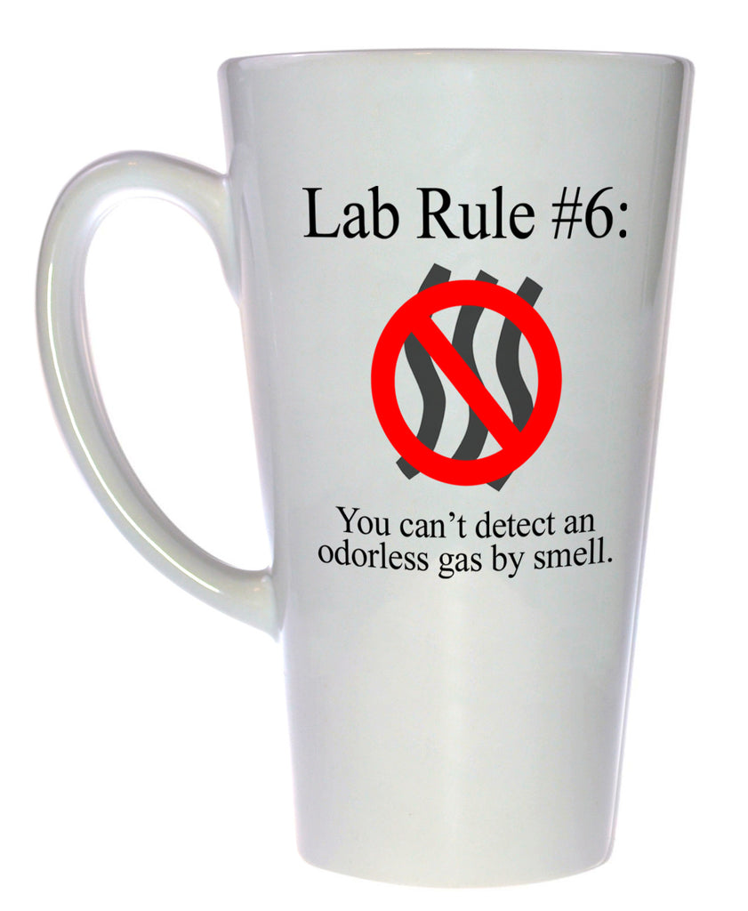 Lab Rule #6: You Can't Detect an Odorless Gas by Smell Mug, Latte Size