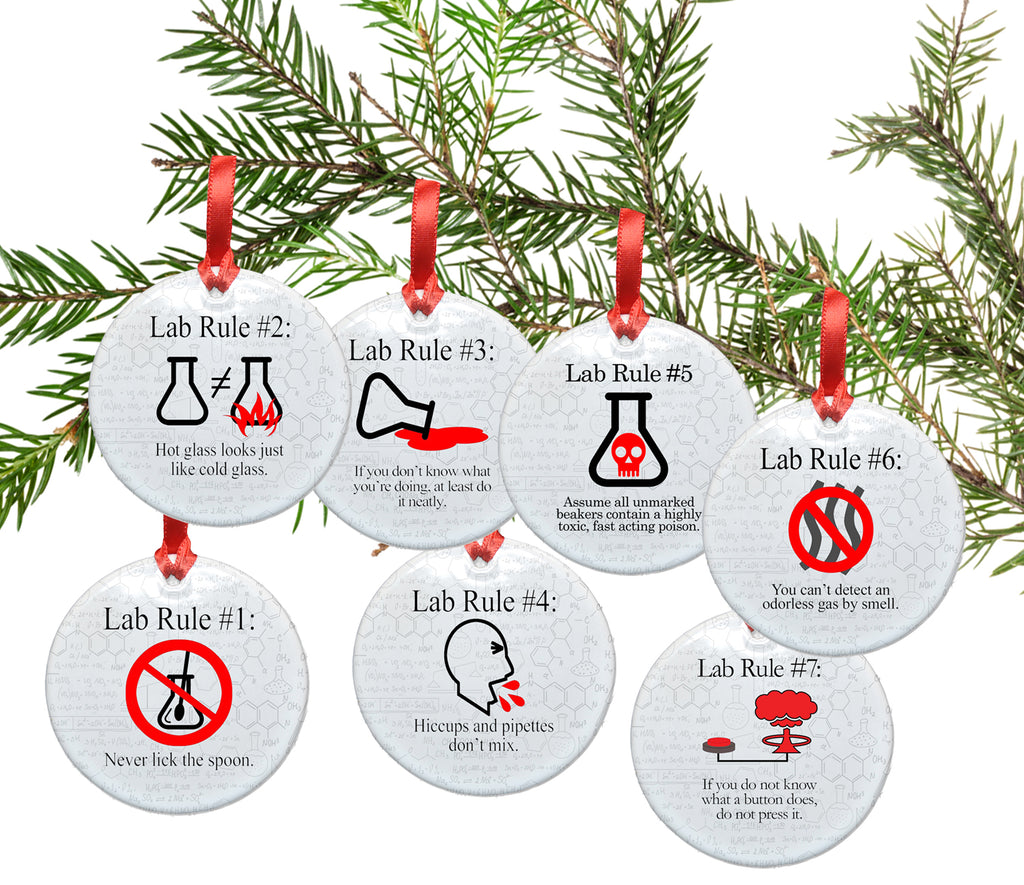 Complete Set of Lab Rule Ceramic Christmas Tree Ornaments