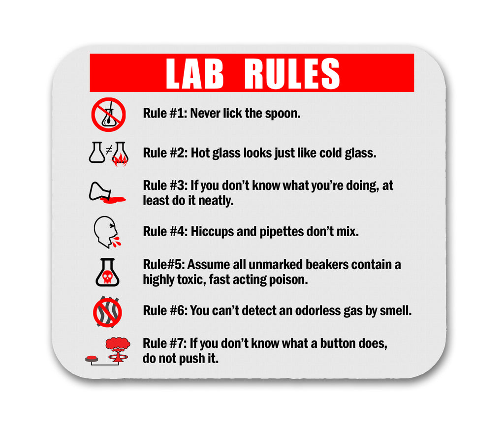 Lab Rules Funny Science Mouse Pad For Computer Geeks and Nerds