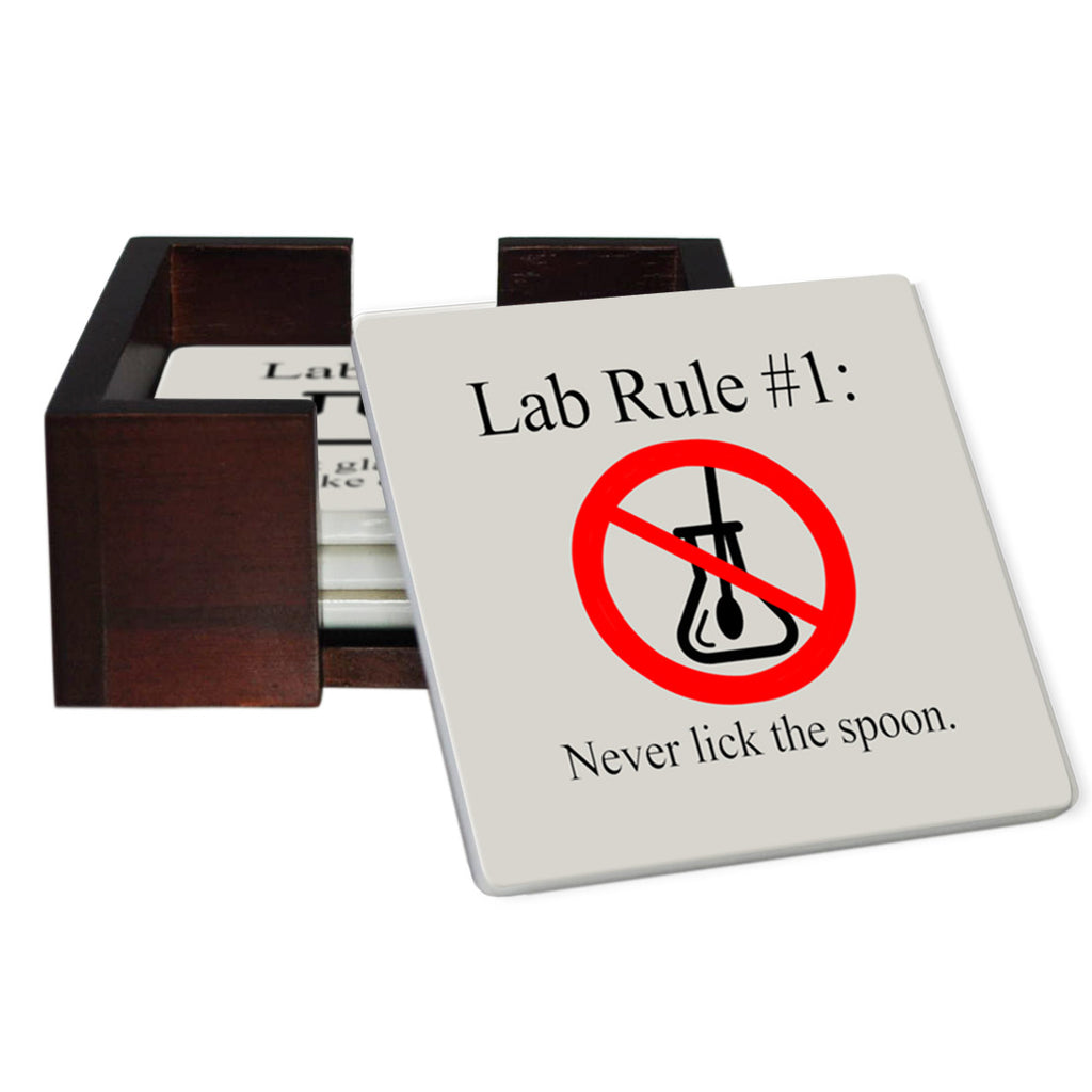 Lab Rules 1-6 Coaster Set - Sandstone Tile 6 Piece Set - Caddy Included