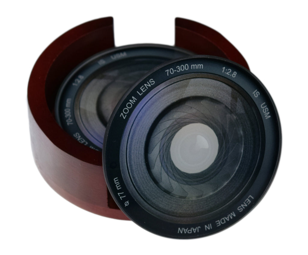 Camera Lens Iris Images Coaster Set - Caddy Included -4 Piece Glass Coaster Set - Caddy Included