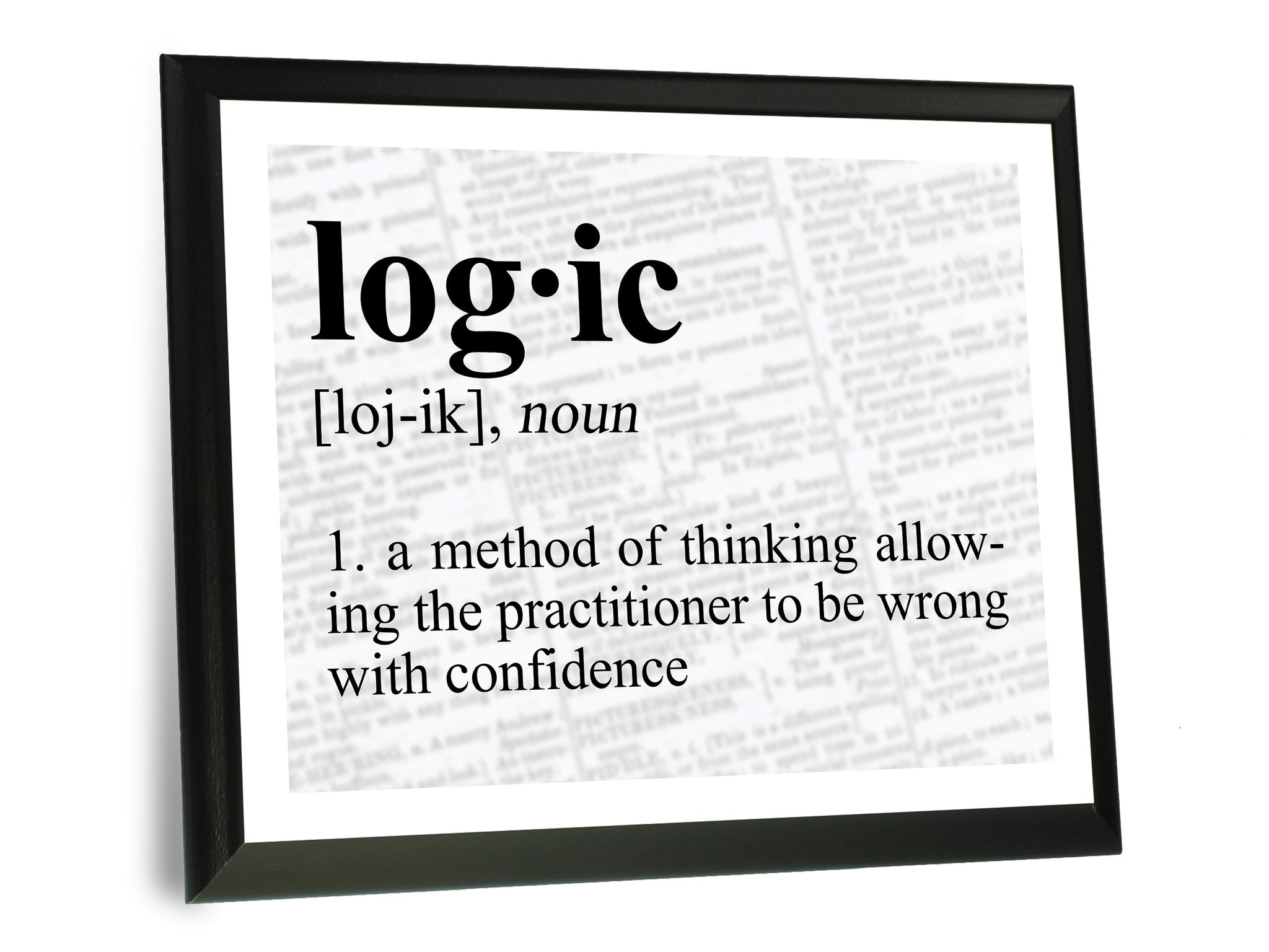 Logic definition typography wall plaque 9x12 for geeks - Plaque de finition ...