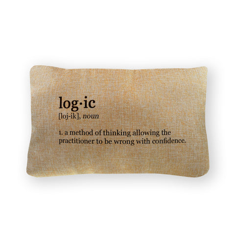 "Logic Definition Pillow Cover  - Natural Color - Zipper Enclosure - 12""x18"""