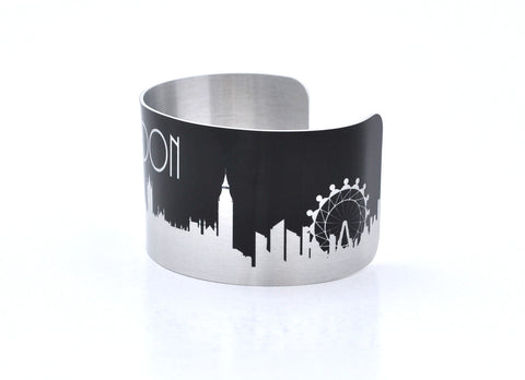 London Silver and Black Skyline Aluminum Cuff