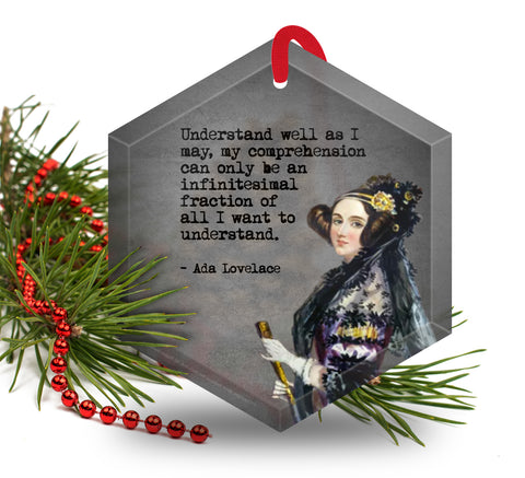 Famous Scientists Ada Lovelace Glass Christmas Ornament