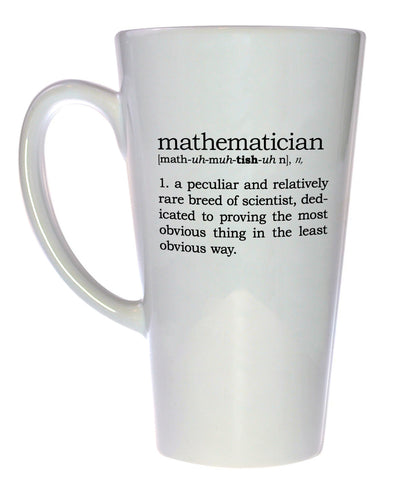 Mathematician Definition Tall Coffee or Tea Mug, Latte Size