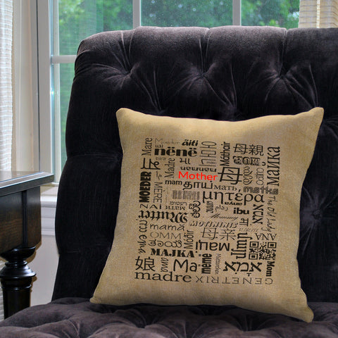 "Mother in Different Languages Pillow Cover  - Zipper Enclosure - 18""x18"""