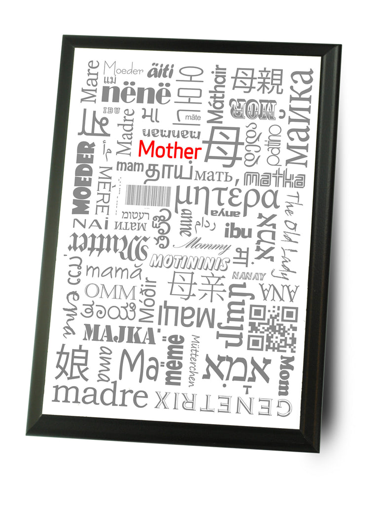 Mom In Many Languages Typography Wall Plaque