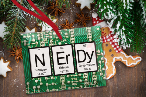 Nerdy Periodic Table of Elements Glass Christmas Ornament
