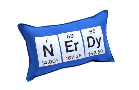 Nerdy Periodic Table of Elements Throw Pillow