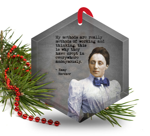 Famous Scientists Emmy Noether Glass Christmas Ornament