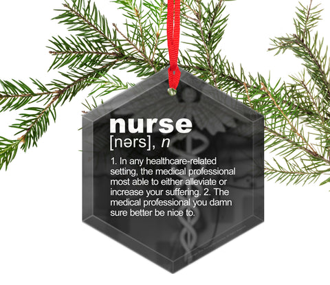 Nurse Definition Funny Glass Christmas Ornament