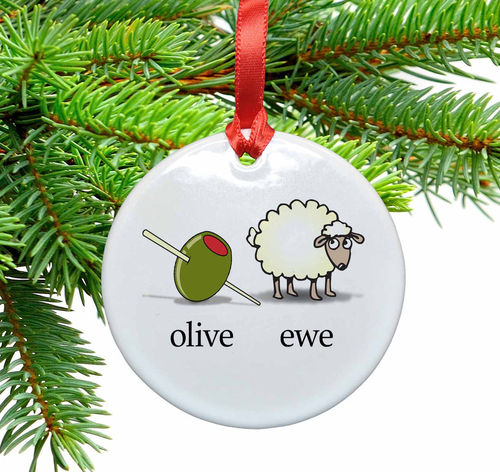 Olive Ewe / I Love You Ceramic Christmas Ornament