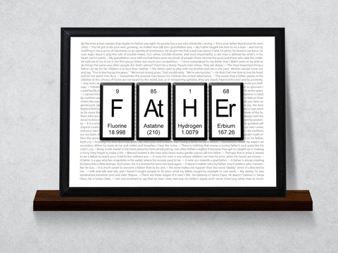 Father Periodic Table of Elements Typography Wall Plaque