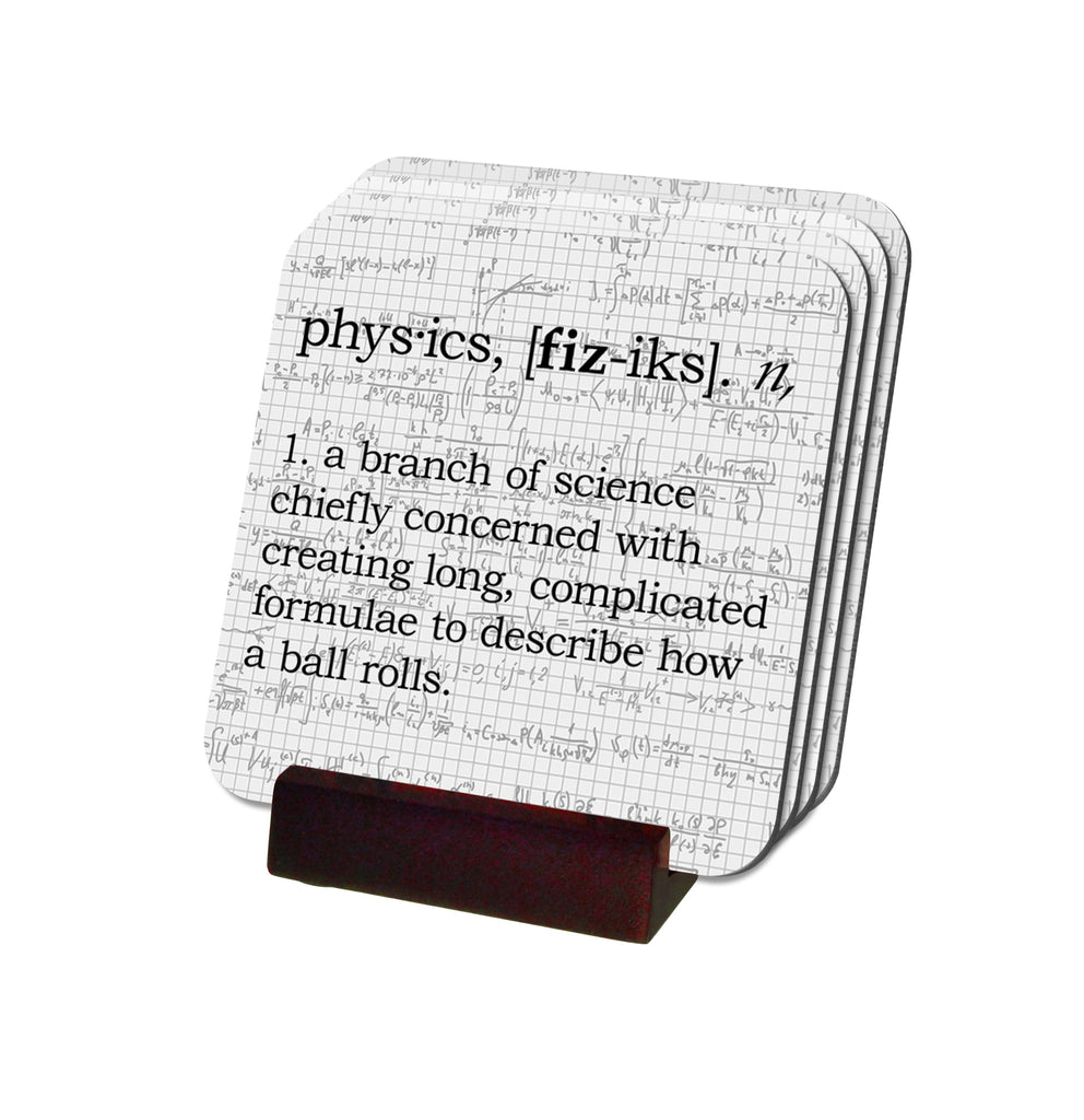 Physics Definition Coasters with Display Holder