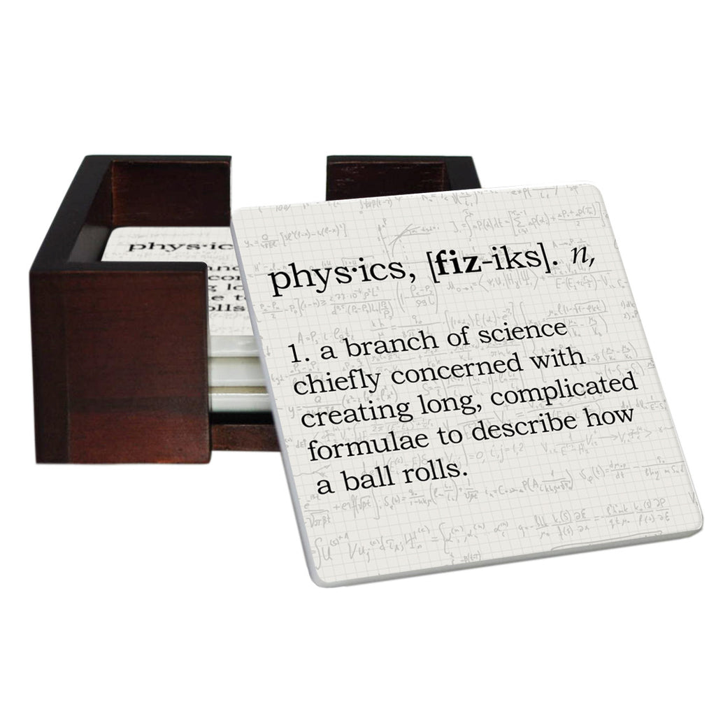 Physics Definition Coaster Set - Sandstone Tile 4 Piece Set - Caddy Included
