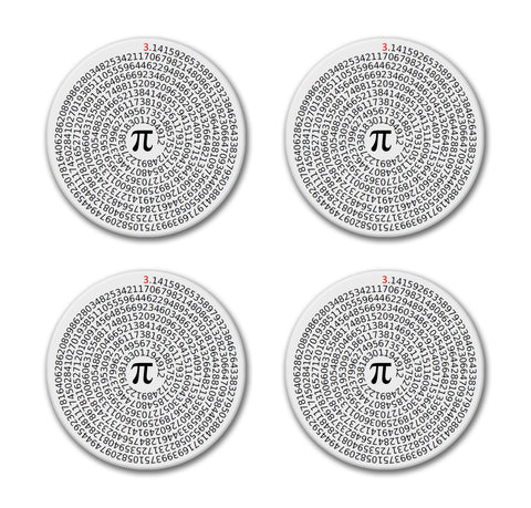 Value of Pi Coaster Set - Sandstone  Round Tile 4 Piece Set - Caddy Included