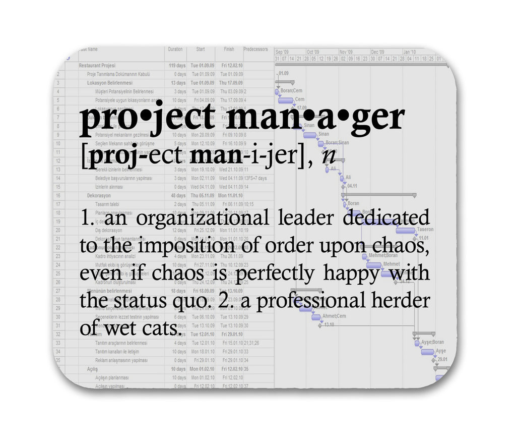 Project Manager Definition Funny Quote Mouse Pad