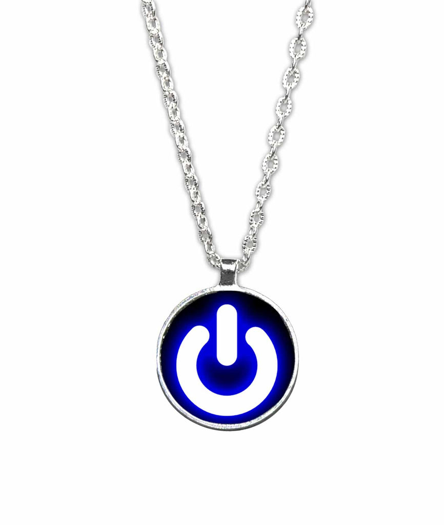 Power Button Round 1 inch Pendant Necklace