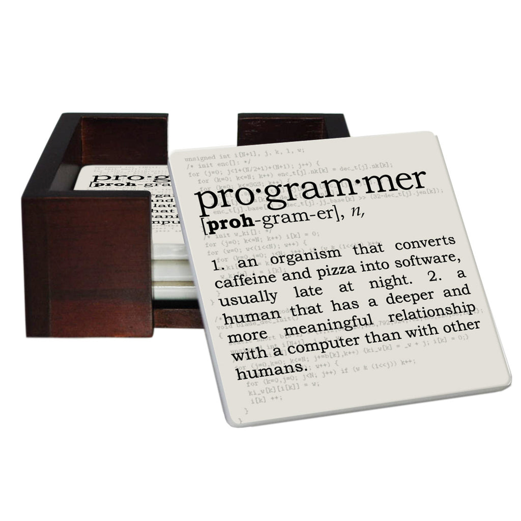 Programmer Definition Coaster Set - Sandstone Tile 4 Piece Set - Caddy Included
