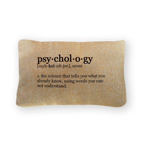 "Psychology Definition Pillow Cover  - Natural Color - Zipper Enclosure - 12""x18"""