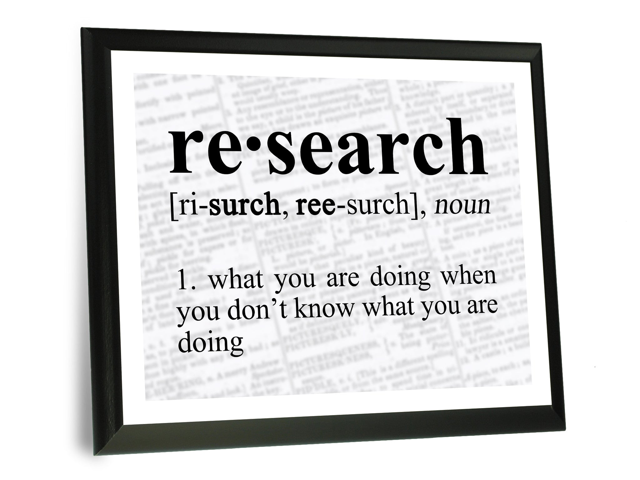 research definition funny typography wall plaque 9x12 neurons not included