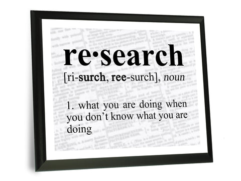 "Research Definition Funny Typography Wall Plaque 9"" x 12"""