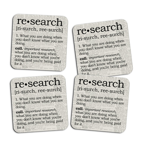 Research Definition Coasters with Display Holder
