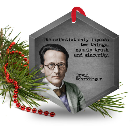 Erwin Schrodinger Glass Christmas Ornament